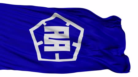 insignie : Tajimi flag, Gifu prefecture, realistic animation isolated on white seamless loop - 10 seconds long (alpha channel is included)