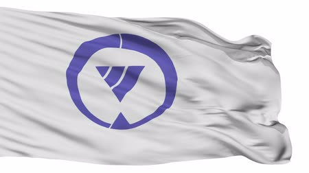 insignie : Tsushima flag, Aichi prefecture, realistic animation isolated on white seamless loop - 10 seconds long (alpha channel is included)