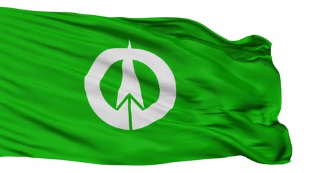 insignie : Yaita flag, Tochigi prefecture, realistic animation isolated on white seamless loop - 10 seconds long (alpha channel is included)
