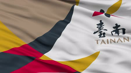 tainan : Tainan closeup flag, city of Taiwan, realistic animation seamless loop - 10 seconds long