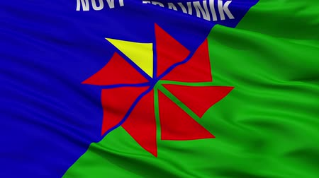 cyrillic : Novi Travnik closeup flag, city of Bosnia Herzegovina, realistic animation seamless loop - 10 seconds long