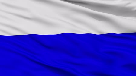 cyrillic : Mlada Boleslav closeup flag, city of Czech Republic, realistic animation seamless loop - 10 seconds long