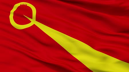 cyrillic : Valandovo  closeup flag, city of Macedonia, realistic animation seamless loop - 10 seconds long
