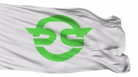 Kasai flag, Hyogo prefecture, realistic animation isolated on white seamless loop - 10 seconds long (alpha channel is included) Dostupné videozáznamy
