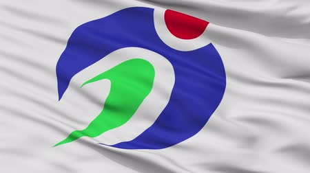 Agano close up flag, Niigata prefecture, realistic animation seamless loop - 10 seconds long
