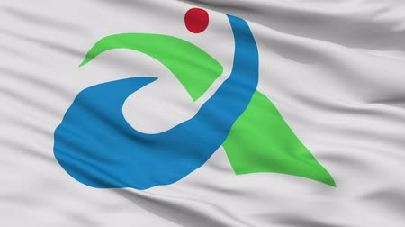 Aisai close up flag, Aichi prefecture, realistic animation seamless loop - 10 seconds long