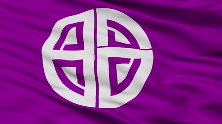 Akishima close up flag, Tokyo prefecture, realistic animation seamless loop - 10 seconds long
