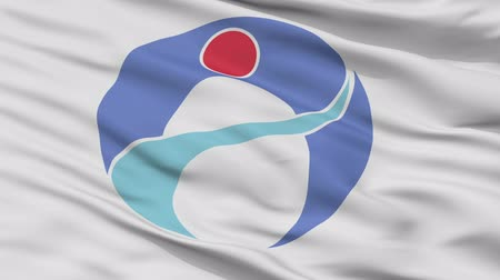 címer : Amami close up flag, Kagoshima prefecture, realistic animation seamless loop - 10 seconds long
