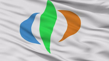 Chuo close up flag, Yamanashi prefecture, realistic animation seamless loop - 10 seconds long Dostupné videozáznamy