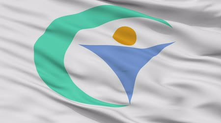 Gujo close up flag, Gifu prefecture, realistic animation seamless loop - 10 seconds long