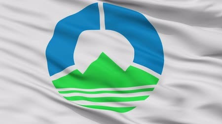 Hachimandaira close up flag, Iwate prefecture, realistic animation seamless loop - 10 seconds long