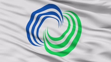 Isahaya close up flag, Nagasaki prefecture, realistic animation seamless loop - 10 seconds long