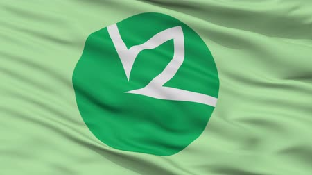 Joetsu close up flag, Niigata prefecture, realistic animation seamless loop - 10 seconds long