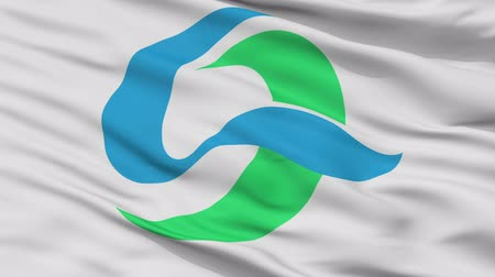 Kesennuma close up flag, Miyagi prefecture, realistic animation seamless loop - 10 seconds long Stok Video