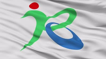Kobayashi close up flag, Miyazaki prefecture, realistic animation seamless loop - 10 seconds long