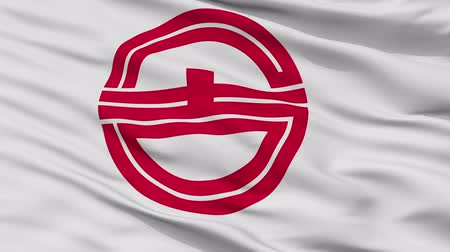 Kurayoshi close up flag, Tottori prefecture, realistic animation seamless loop - 10 seconds long