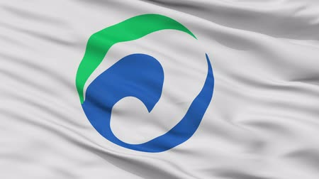 Maibara close up flag, Shiga prefecture, realistic animation seamless loop - 10 seconds long