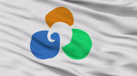 Minamisoma close up flag, Fukushima prefecture, realistic animation seamless loop - 10 seconds long