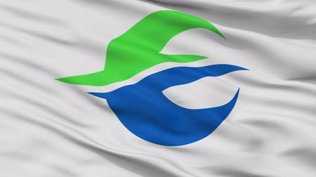 Motomiya close up flag, Fukushima prefecture, realistic animation seamless loop - 10 seconds long