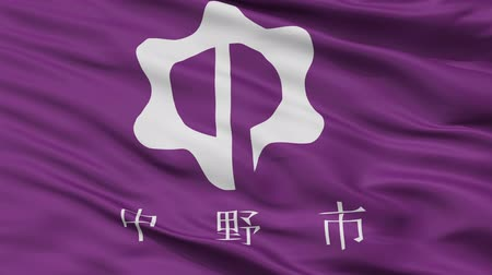 Nakano close up flag, Nagano prefecture, realistic animation seamless loop - 10 seconds long Stok Video