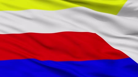 cyrillic : Martin closeup flag, city of Slovakia, realistic animation seamless loop - 10 seconds long
