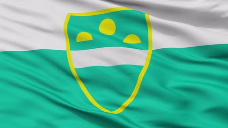 mês : MS closeup flag, city of Slovenia, realistic animation seamless loop - 10 seconds long