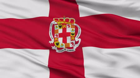 almeria : Almeria closeup flag, city of Spain, realistic animation seamless loop - 10 seconds long