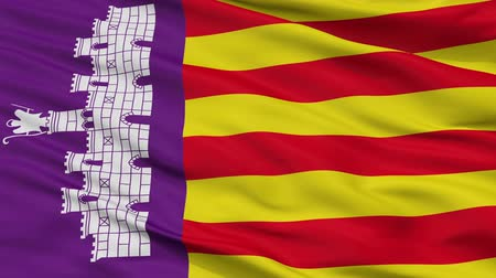 Майорка : Mallorca closeup flag, city of Spain, realistic animation seamless loop - 10 seconds long Стоковые видеозаписи
