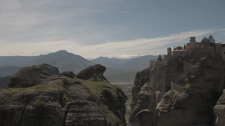 kalambaka : View of Meteora mountains in sunny day. Stock Footage