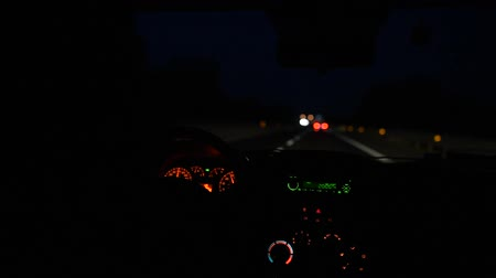 tachometer : Driving car on night roads.