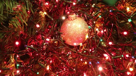 a lot of flashing shimmering colored led lights of a christmas tree Stok Video