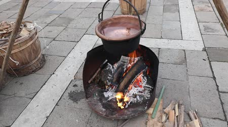 ancient copper cauldron with warm water and fire made of logs