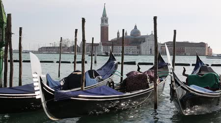 Many gondolas to transport tourists moored in Venice near Saint Mark Square and the Church of Saint George