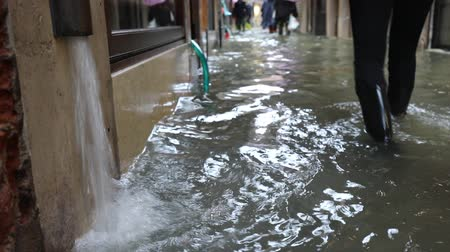 submerge : Narrow street of Venice during Flood