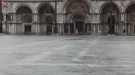 Basilica of Saint Mark in the Main Square of Venice Island with high tide