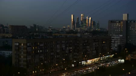 azman : 4K timelapse of sundown, Moscow, Russia. View to the Skyscrapers of Moscow-city