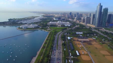 Aerial drone footage of Chicago USA