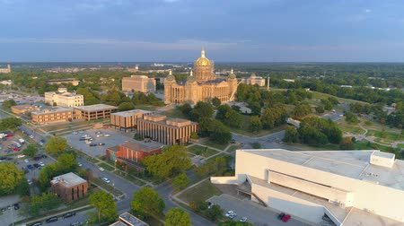 pro government : Aerial video Des Moines State Capitol Building