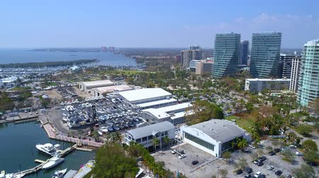 Aerial scene Coral Gables FL marina and real estate