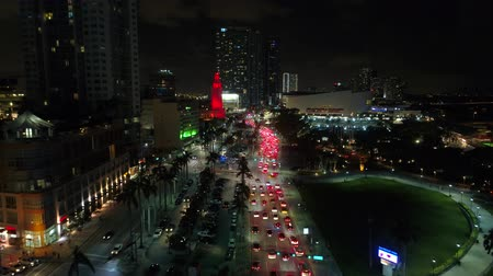 Aerial shot traffic Downtown Miami Biscayne Boulevard