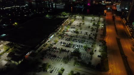 walmart : Aerial video Hallandale Walmart at night