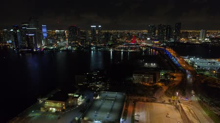 Aerial video Port Miami view of Downtown Florida