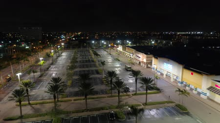 Drone shot RK Shopping Center Hallandale night Stok Video