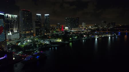 Night aerial Downtown Miami Bayfront Park Bayside Biscayne 4k