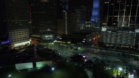 drone miami : Night aerial approach Miami Metrorail Downtown Stock Footage