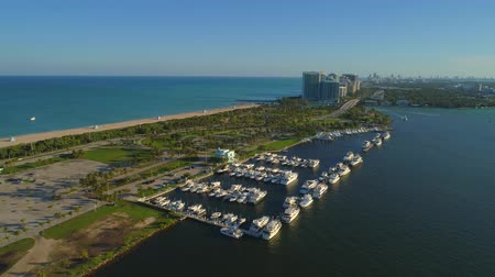 Aerial video Haulover Park marina with boats Stok Video