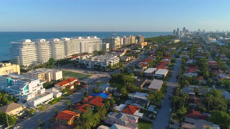 wide angle view : Aerial tour Surfside Florida neighborhoods and houses