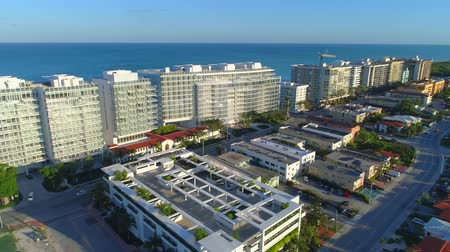 Aerial video Surfclub and Four Seasons buildings completed Surfside FL Stok Video