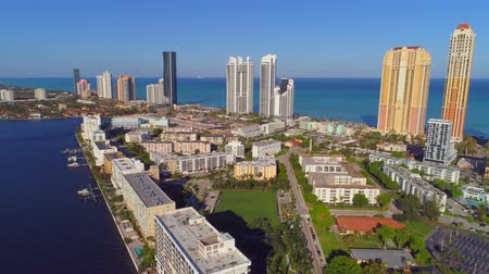 sideways : Drone establishing aerial Sunny Isles Beach FL USA Stock Footage