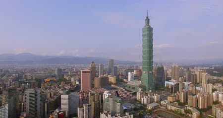 bridge man made structure : Aerial shot of City Taipei, Taiwan Stock Footage